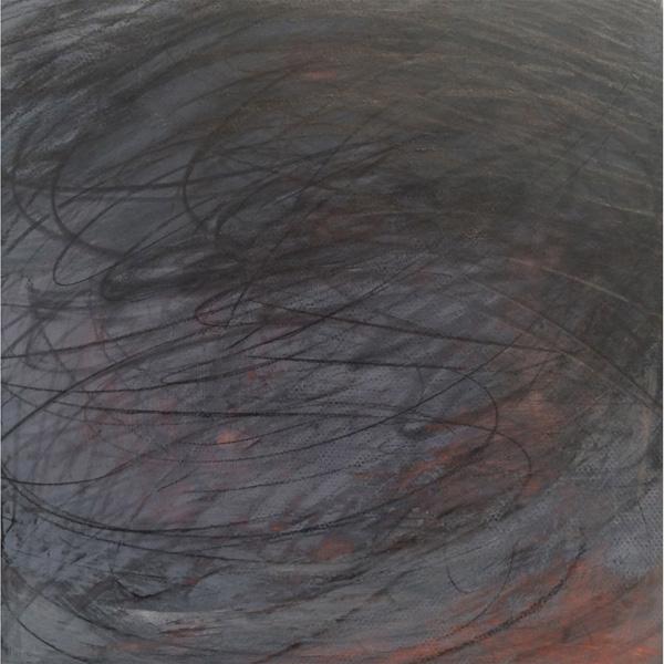 Linda Davidson, Whizbang, casein + graphite on wooden panel, 6 x 6 inches, $250.