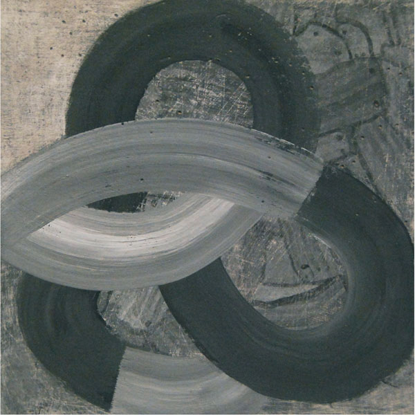 Linda Davidson, Loopy, casein on wooden panel, 6 x 6 inches, $250.