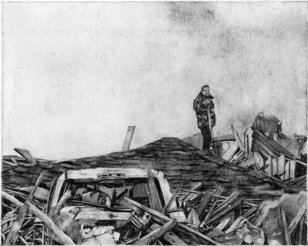 Samantha Scherer, Buried, 2018, graphite on paper, 10 x 10 inches, framed, $950.