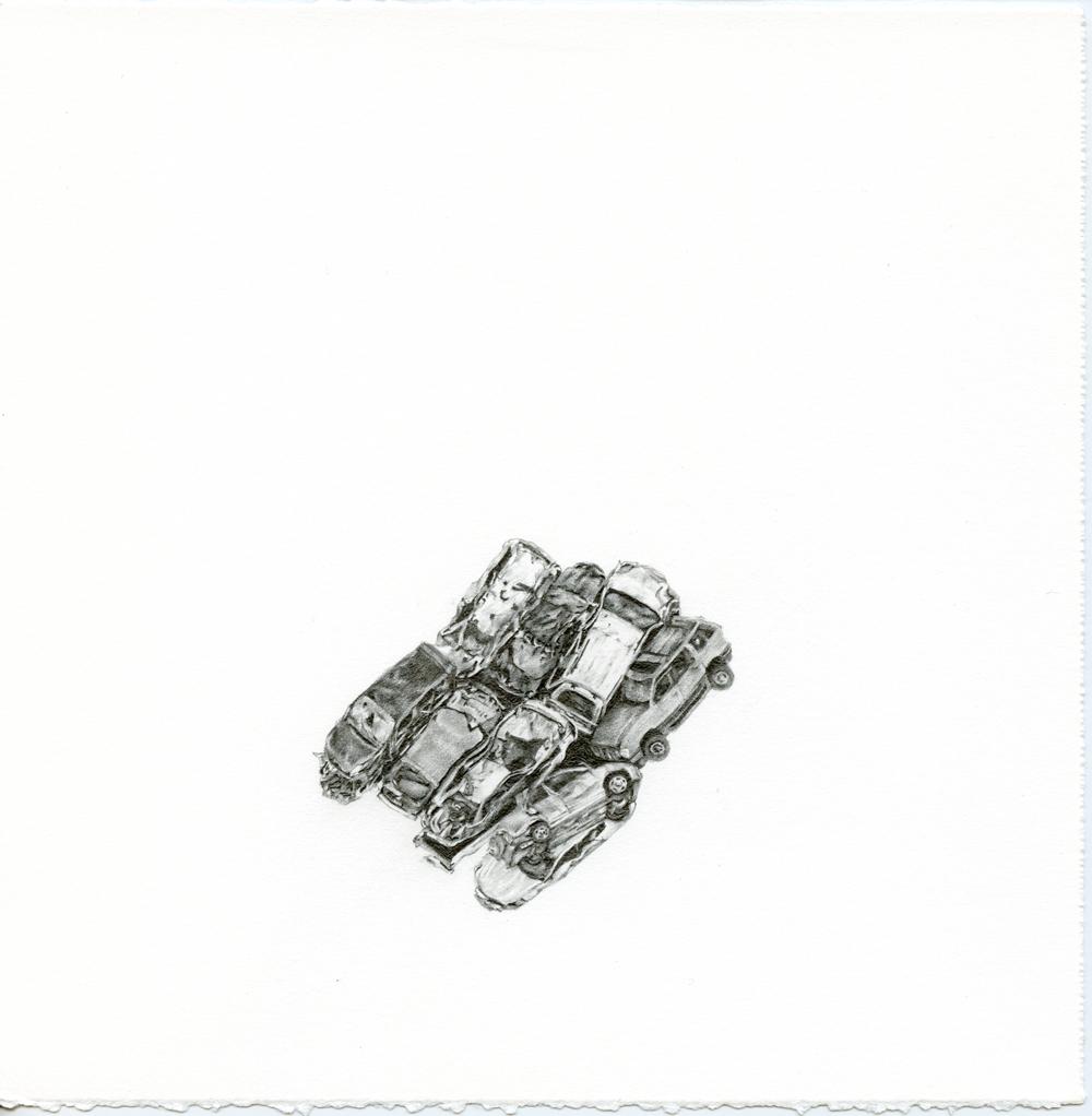 Samantha Scherer, Crumpled Cars (1), 2016, graphite on paper, 8 x 8 inches, framed, framed, $850.