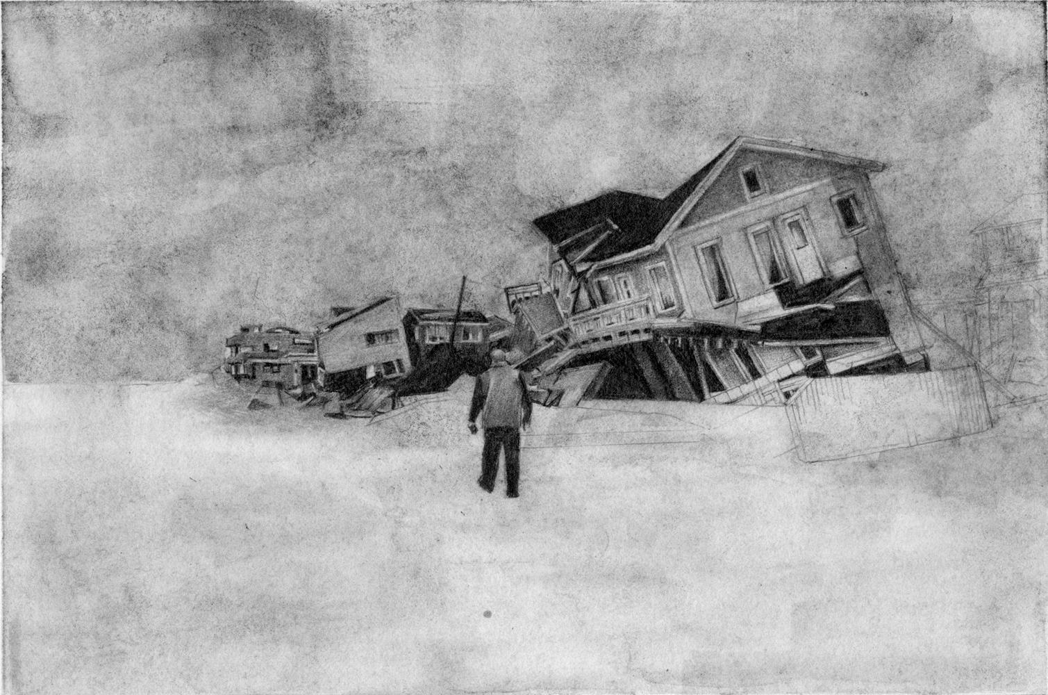 Samantha Scherer, Tilted, 2018, graphite on paper, 10 x 10 inches, framed, $950.