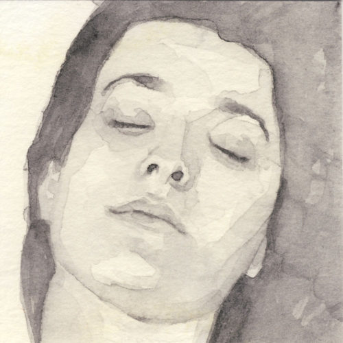 Samantha Scherer, 01-011, watercolor on stained paper, 2.5 x 2.5 inches, framed, $400.