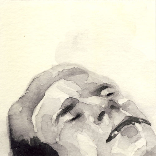 Samantha Scherer, 01-005, watercolor on stained paper, 2.5 x 2.5 inches, $300.