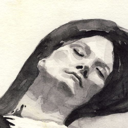 Samantha Scherer, 01-019-2, watercolor on stained paper, 2.5 x 2.5 inches, $300.