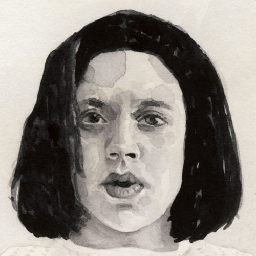 Samantha Scherer, 02-030, watercolor on stained paper, 2.5 x 2.5 inches, framed, $400.