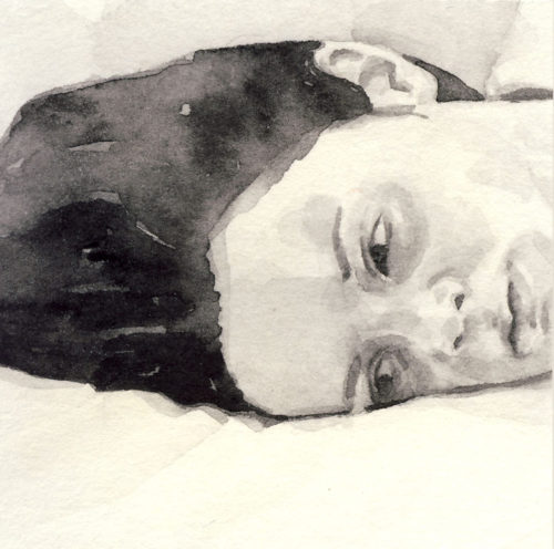 Samantha Scherer, 02-039, watercolor on stained paper, 2.5 x 2.5 inches, framed, $400.