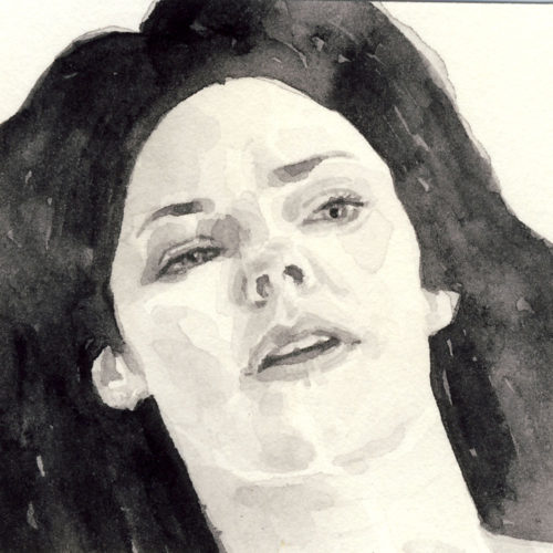 Samantha Scherer, 03-050-1, watercolor on stained paper, 2.5 x 2.5 inches, $300.
