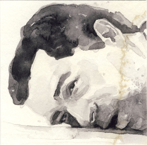 Samantha Scherer, 03-052-2, watercolor on stained paper, 2.5 x 2.5 inches, $300.