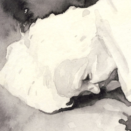 Samantha Scherer, 03-057, watercolor on stained paper, 2.5 x 2.5 inches, $300.