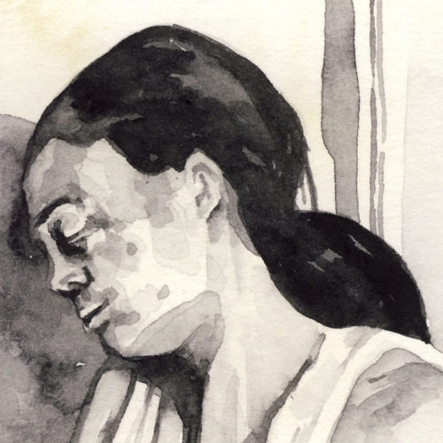 Samantha Scherer, 03-059, watercolor on stained paper, 2.5 x 2.5 inches, $300.