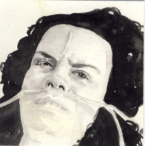Samantha Scherer, 03-060, watercolor on stained paper, 2.5 x 2.5 inches, $300.