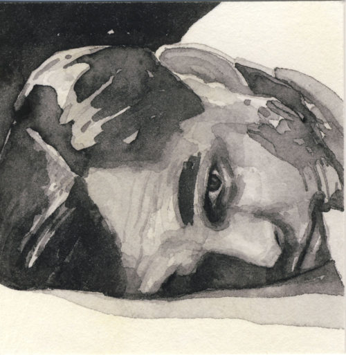 Samantha Scherer, 03-064, watercolor on stained paper, 2.5 x 2.5 inches, $300.