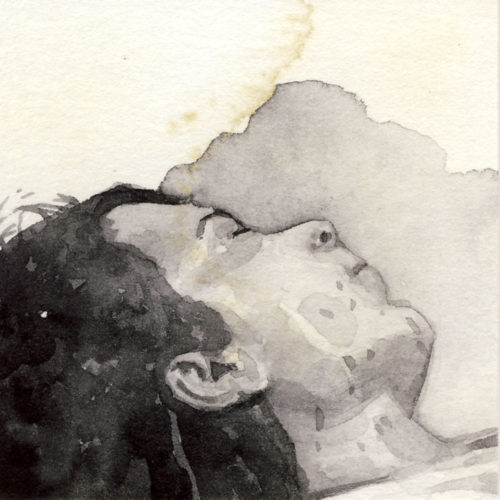 Samantha Scherer, 04-070-1, watercolor on stained paper, 2.5 x 2.5 inches, $300.