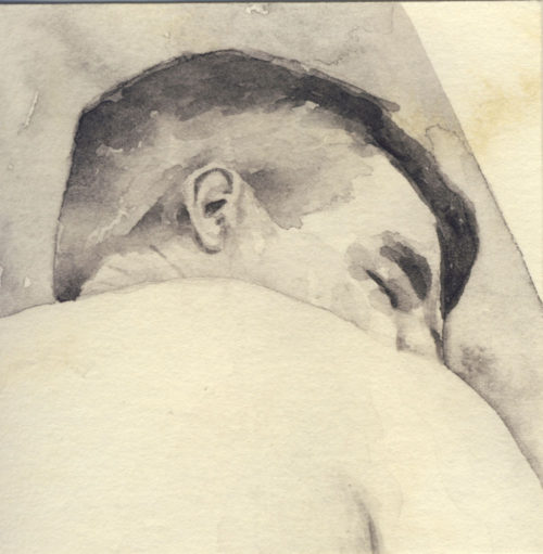 Samantha Scherer, 04-071, watercolor on stained paper, 2.5 x 2.5 inches, $300.