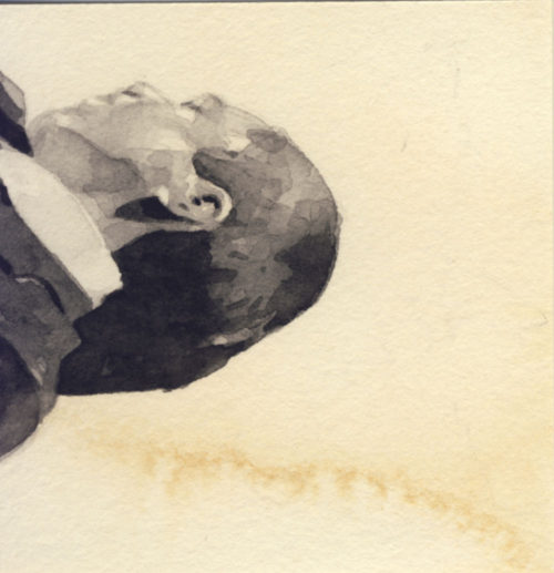Samantha Scherer, 07-157, watercolor on stained paper, 2.5 x 2.5 inches, framed, $400.