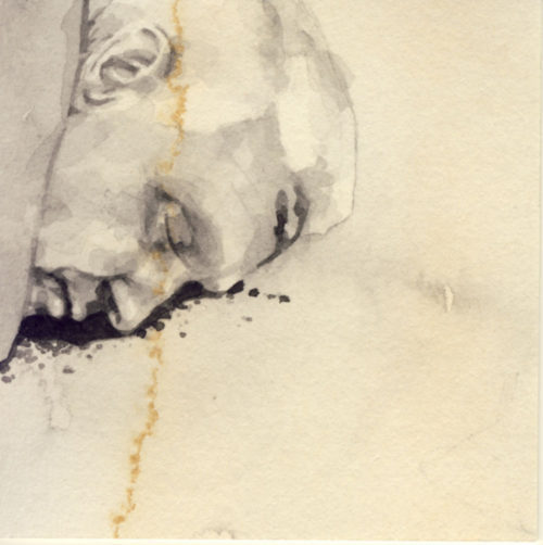 Samantha Scherer, 08-169-3, watercolor on stained paper, 2.5 x 2.5 inches, $300.