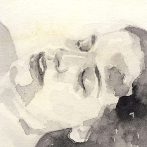 Samantha Scherer, 14-302, watercolor on stained paper, 2.5 x 2.5 inches, $300.