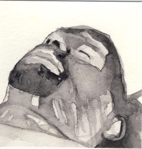 Samantha Scherer, 14-303, watercolor on stained paper, 2.5 x 2.5 inches, $300.