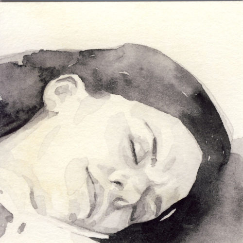 Samantha Scherer, 14-304, watercolor on stained paper, 2.5 x 2.5 inches, $300.