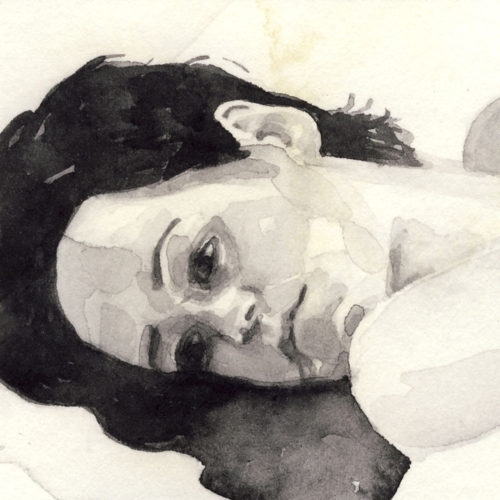 Samantha Scherer, 14-305, watercolor on stained paper, 2.5 x 2.5 inches, $300.