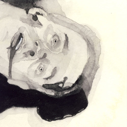 Samantha Scherer, 14-311, watercolor on stained paper, 2.5 x 2.5 inches, $300.