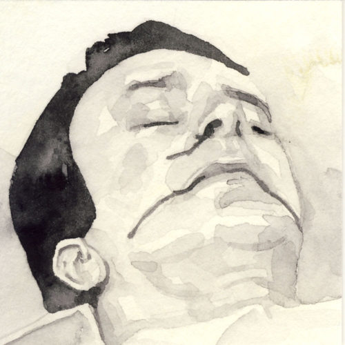 Samantha Scherer, 14-320, watercolor on stained paper, 2.5 x 2.5 inches, $300