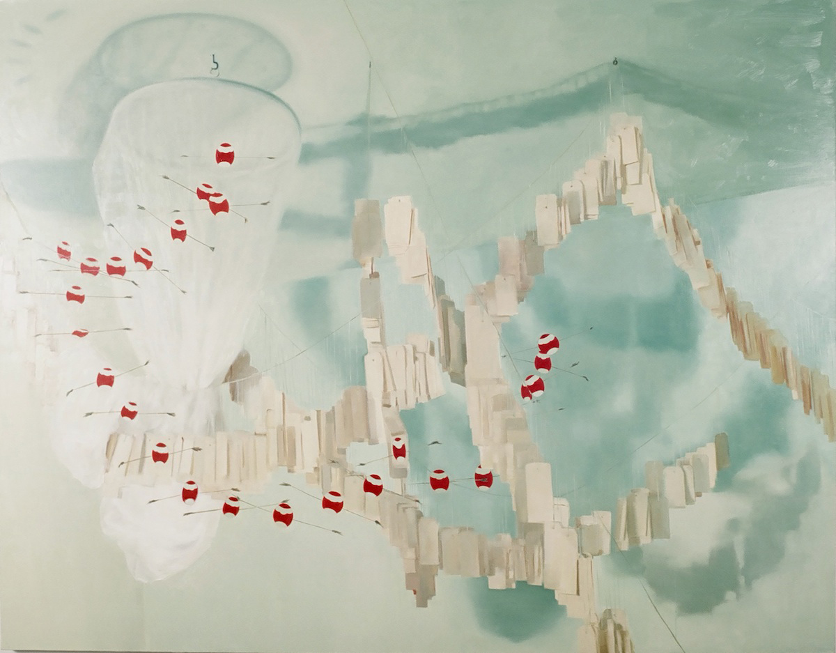 Thuy-Van Vu, In the Space of Sleep (1,000 Tags, Mosquito Net, and Part of a Dragon Mobile), 2005, oil on canvas, 72 x 96 inches, price on request