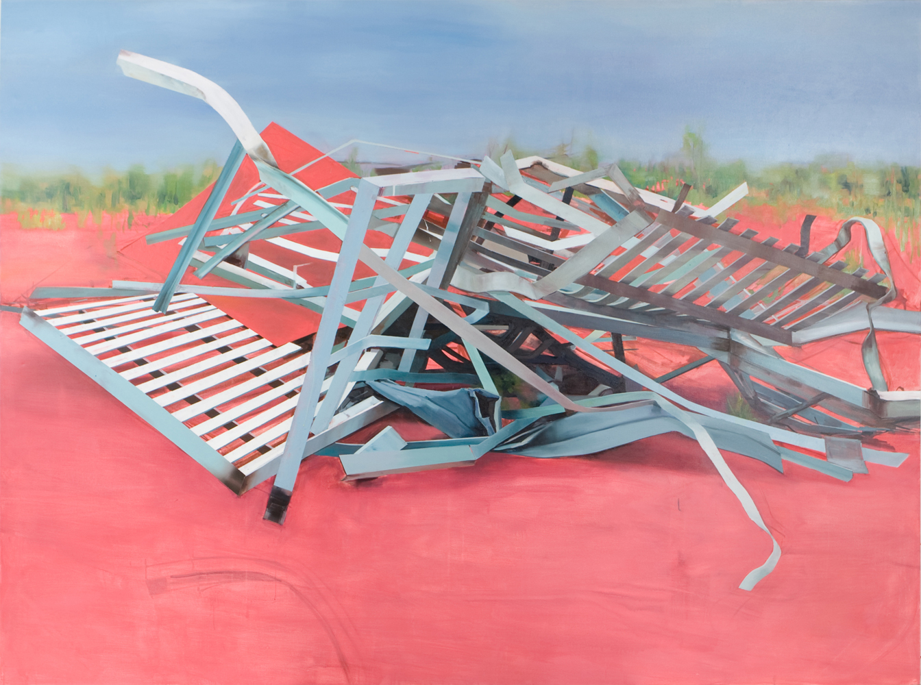 Thuy-Van Vu, Fragments (Barbara Place, Jersey City), 2008, oil on canvas, 72 x 96 inches, price on request