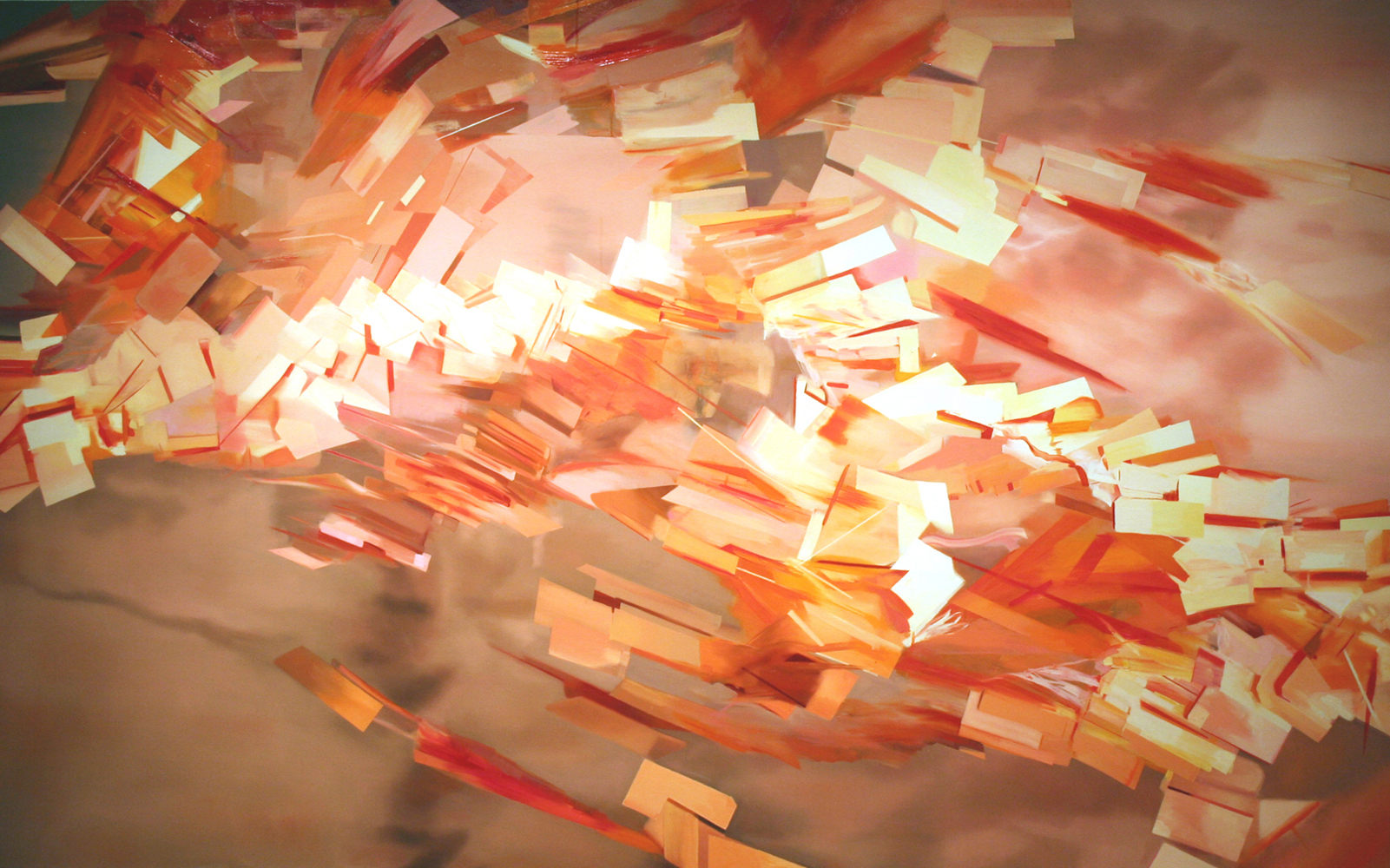 Thuy-Van Vu, For Thich Quang Duc (1,000 Tags), 2006, oil on canvas, 61 x 96 inches, price on request