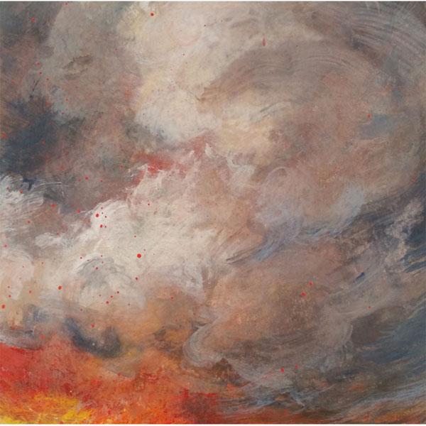 Linda Davidson, Vesuvio 1, casein on wooden panel, 6 x 6 inches, $250.