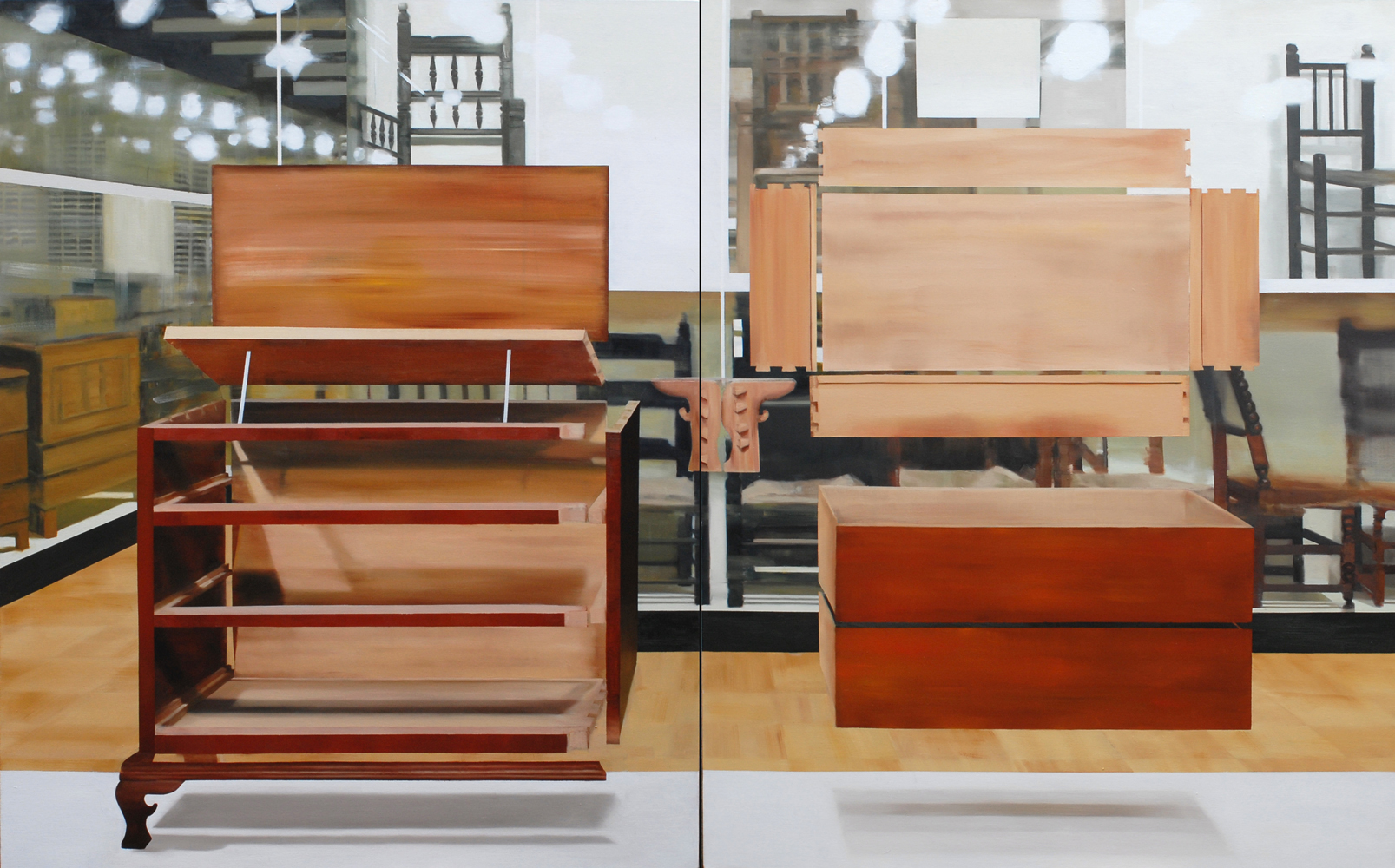 Thuy-Van Vu, American Dresser, 2014, diptych, oil on canvas, 60 x 96 inches, $8,600.