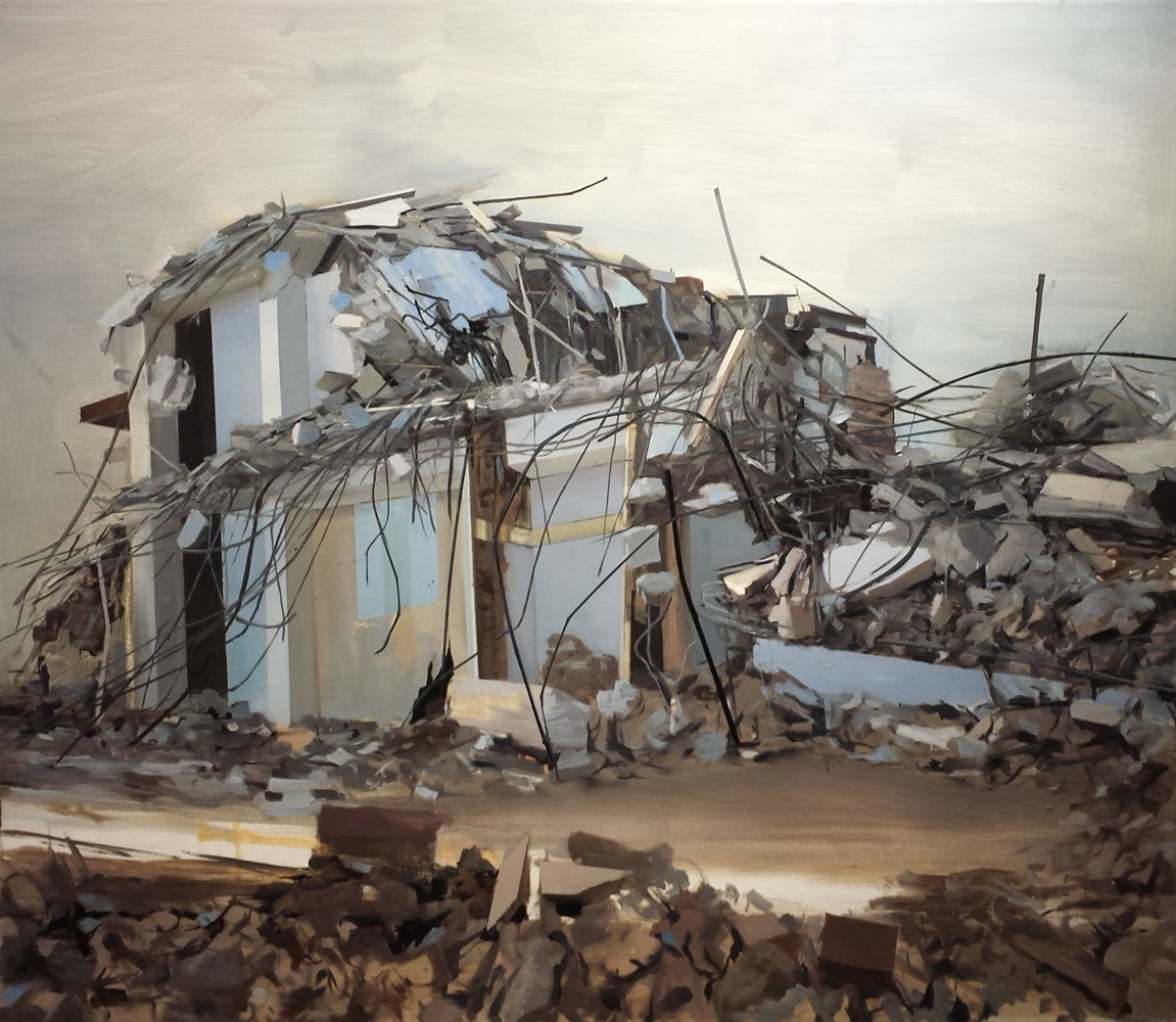 Thuy-Van Vu, House (Jersey City), 2007, oil on canvas, 45 x 52 inches, $5000.