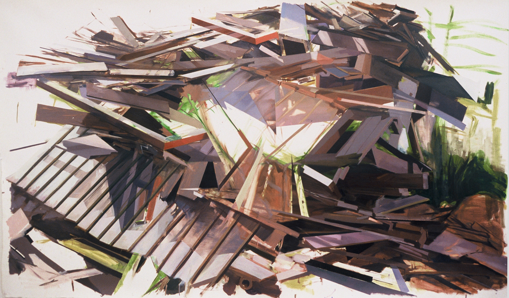 Thuy-Van Vu, Remnants of a House on Eastern Avenue, 2006, oil on paper, 51 x 86 inches
