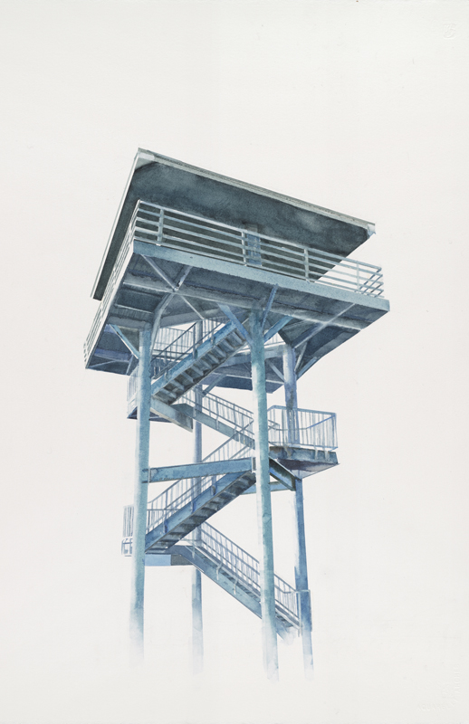 Thuy-Van Vu, Westport Observation Tower, 2015, watercolor on paper, 22 x 16 inches, $900.