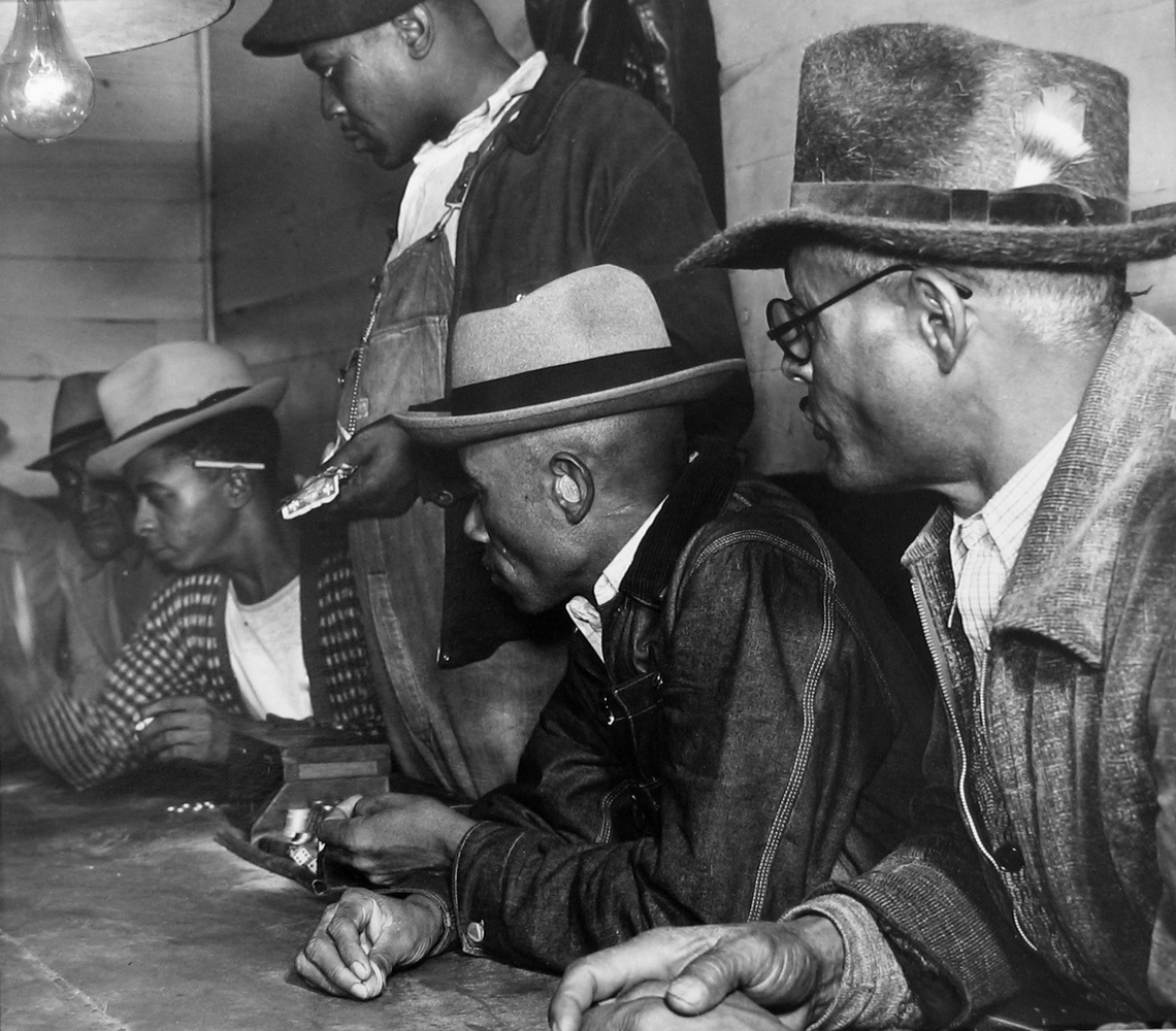 Marion Post Wolcott, Gambling with Cotton Money, MS, 1939 gelatin silver print, 11 x 14 inches, signed by artist, $4000.