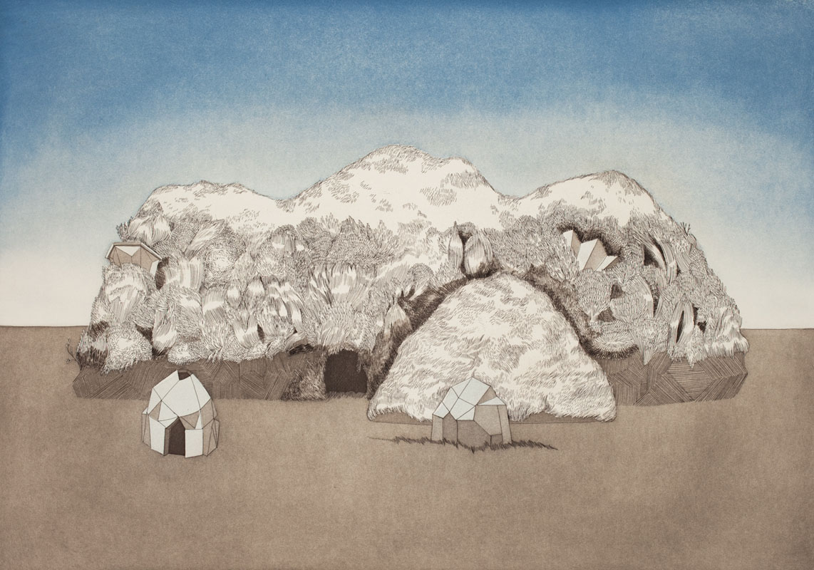 Gala Bent, The Brothers, 2011, etching, edition of 10, 20 x 14 inches, $1,000. framed / $700. unframed