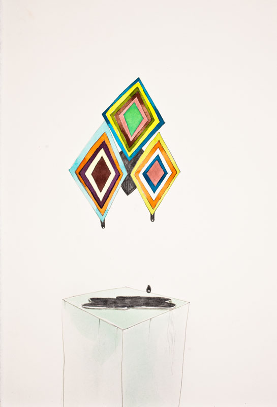 Gala Bent, Drippin' Crude (Glass Pedestal), 2011, graphite and gouache on paper, 10.5 x 7 inches, framed, $450.