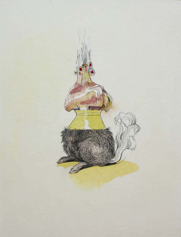 Gala Bent, Incense Burner, 2010, graphite and gouache on paper mounted on wood, 7.5 x 5.5 inches, $450.