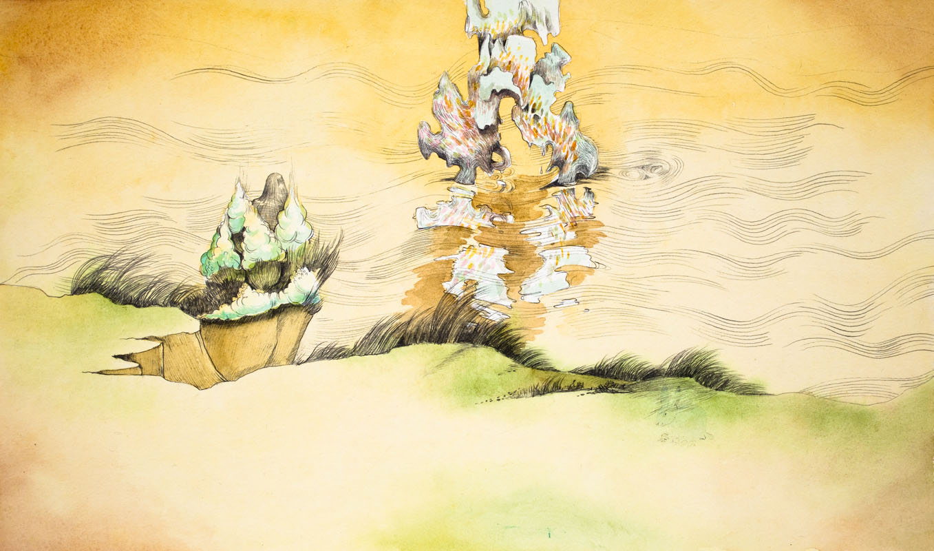 Gala Bent, The River's Edge, 2012, graphite and watercolor on paper, 9 x 15.25 inches, framed, $925.