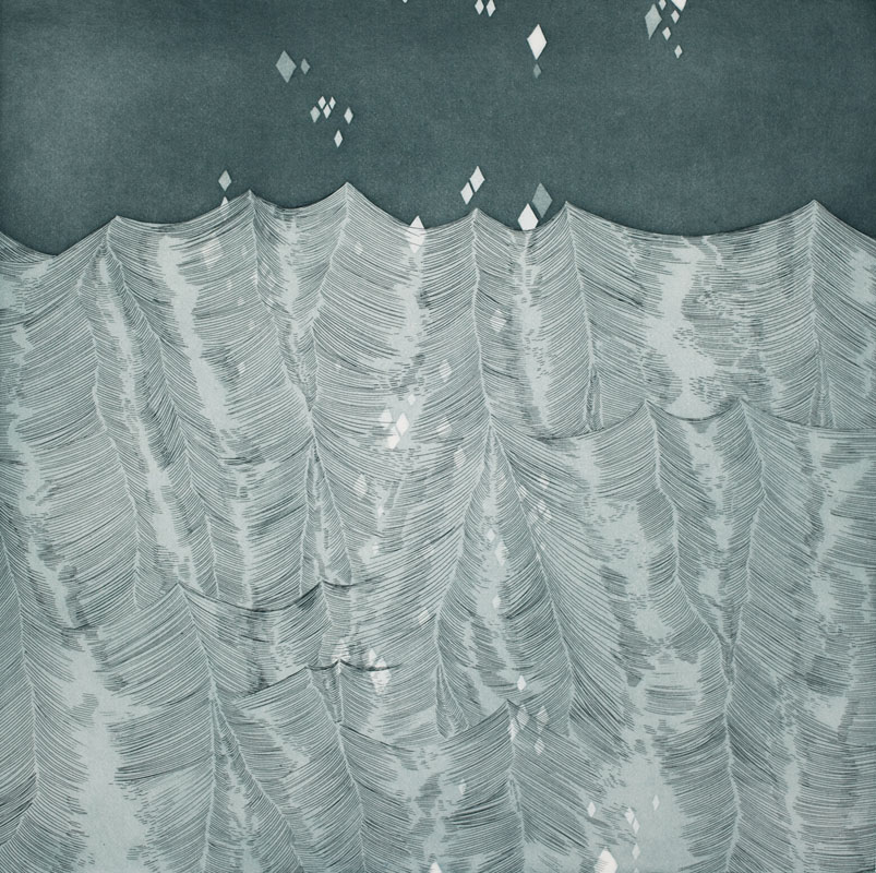 Gala Bent, Silver Waves, 2011, etching, edition of 10, 14 x 14 inches, $850. framed / $600 unframed.