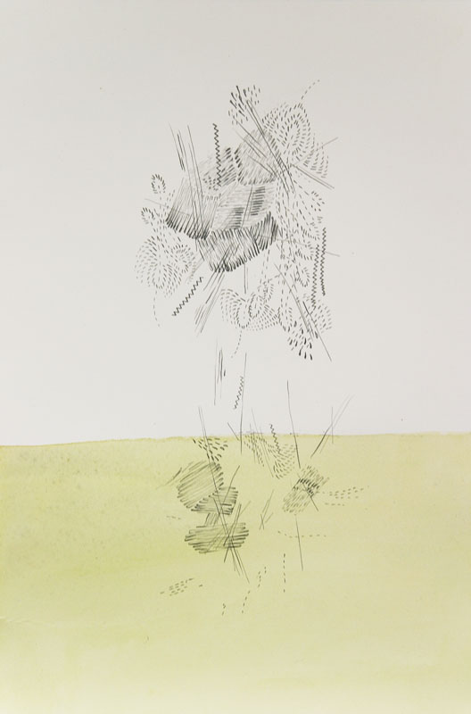 Gala Bent, Stitching in Midair, 2008, graphite and gouache on paper, 11 x 7.5 inches, $400.