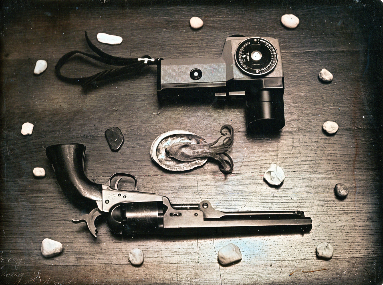 Daniel Carrillo, Bang Bang Shoot Shoot, 2012, daguerreotype, 4.25 x 3.25 inches, framed, $1200.