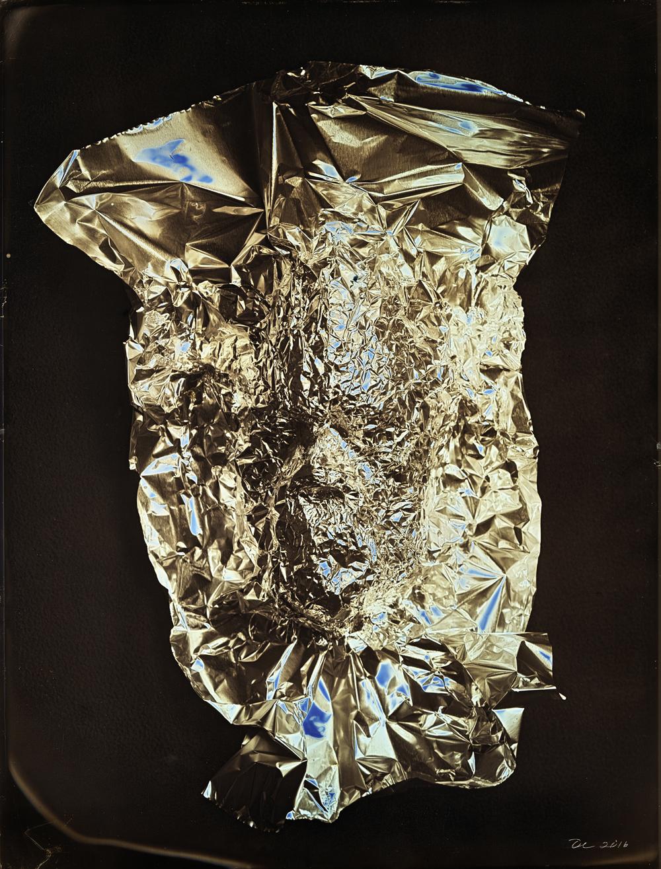 Daniel Carrillo, Tin Foil Mask Self Portrait, 2016, daguerreotype, 8.5 x 6.5 inches, framed, $3000.