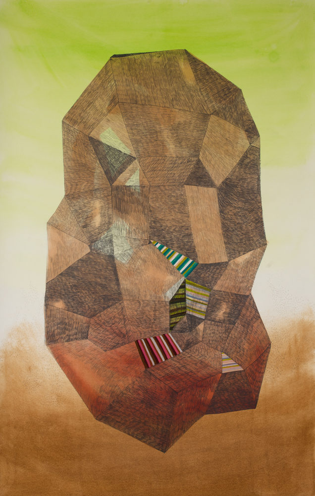 Gala Bent, Concentrated Form, 2015, mixed media on paper, 40 x 25 inches, framed, $3,300.