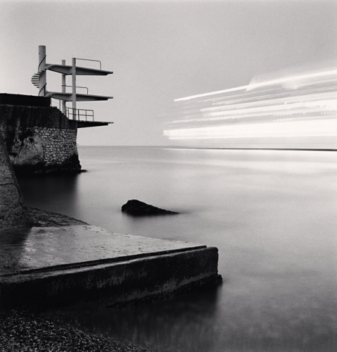 Michael Kenna, Diving Boards and Cruise Ship, Nice, Alpes-Maritimes, France, 1997