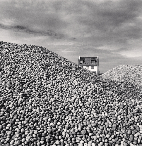 Michael Kenna, Pebbles and Beach House, Cayeaux sur Mer, France, 2009