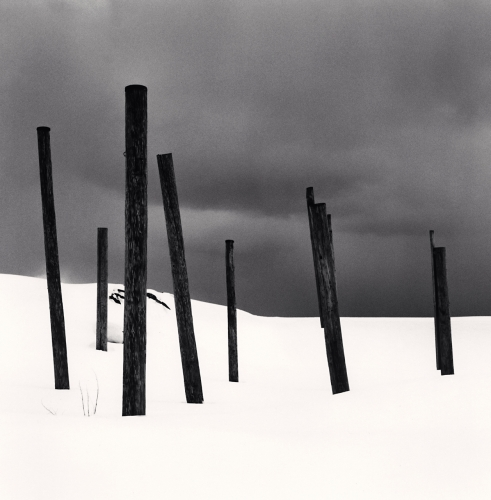 Michael Kenna, Seven Posts in Snow, Rumoi, Hokkaido, Japan. 2004