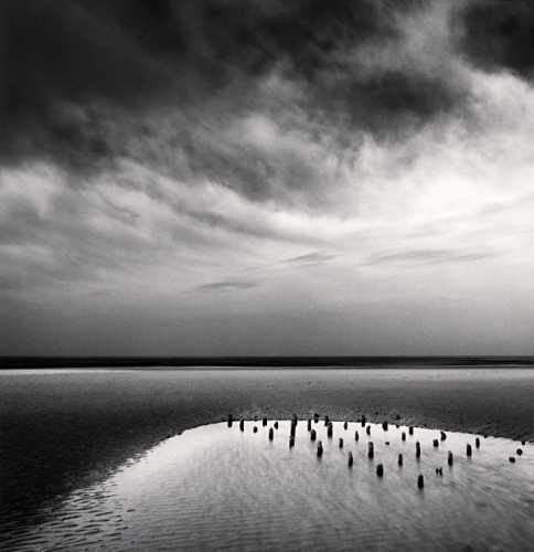 Michael Kenna, Tidal Pool and Posts, Berck Plage, Normandy, France, 2003