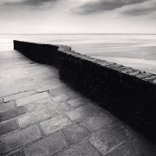 Michael Kenna, Winding Wall, Mont St. Michel, France. 2004