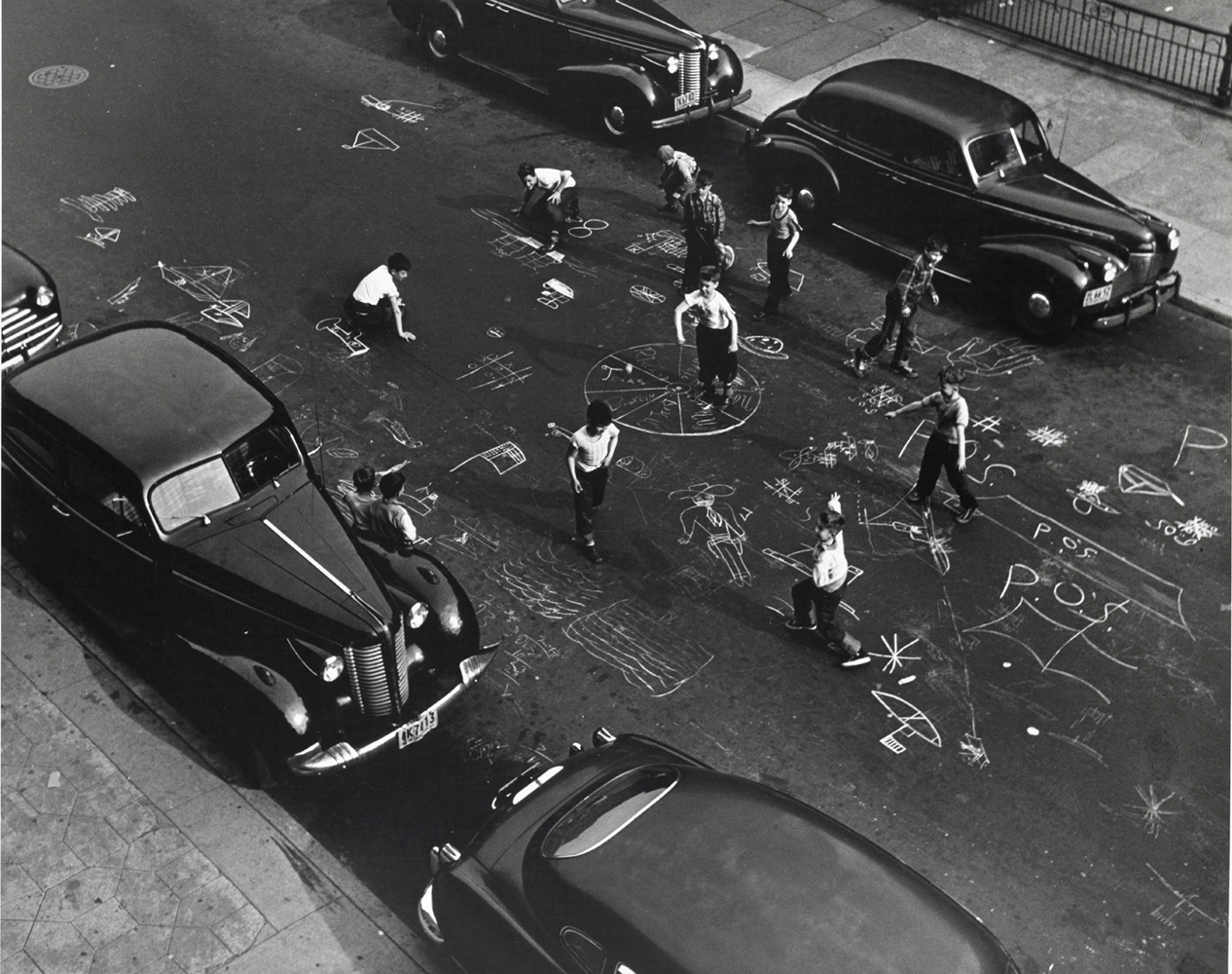 Arthur Leipzig, Chalk Games, 1950, gelatin silver print, 16 x 20 inches, signed and stamped verso, framed, price on request